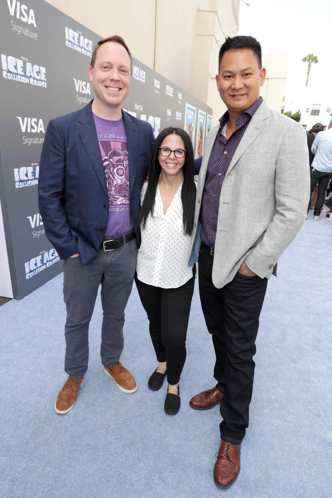 "Director Mike Thurmeier, Producer Lori Forte and Director Galen T. Chu seen at Twentieth Century Fox ""Ice Age: Collision Course"" Friends and Family Screening at Zanuck Theater on Saturday, July 16, 2016, in Los Angeles. (Photo by Eric Charbonneau/Invision for Twentieth Century Fox/AP Images)"