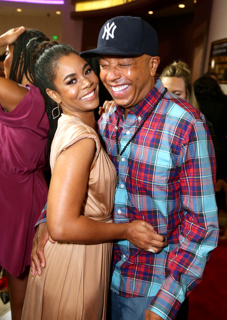 """Regina Hall, left, and Russell Simmons attend the Screen Gems premiere of """"When the Bough Breaks"""" at Regal Cinemas L.A. Live on Sunday, August 28, 2016, in Los Angeles."""