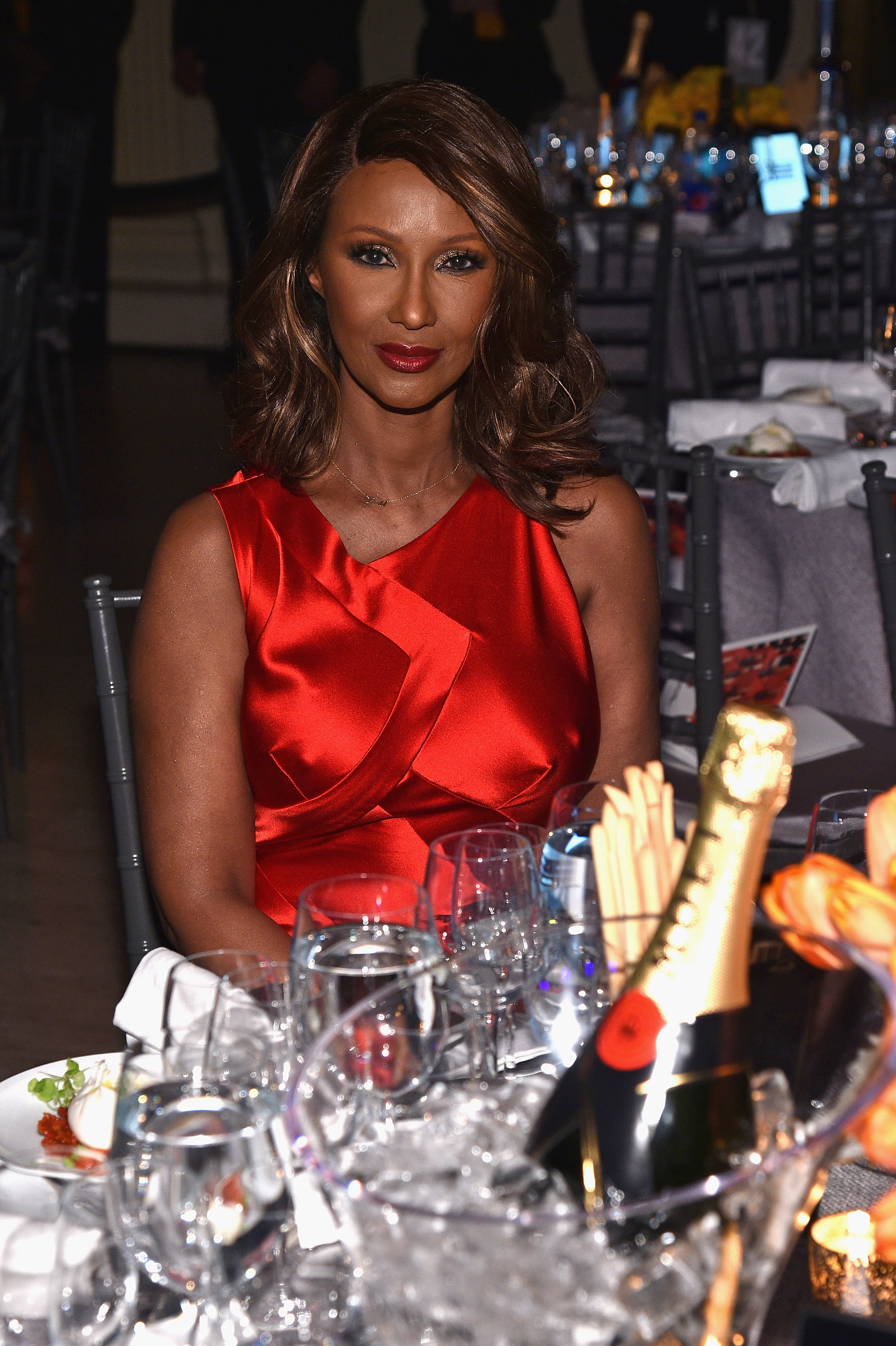 NEW YORK, NY - FEBRUARY 08:  Model Iman attends as Moet & Chandon Toasts to the amfAR New York Gala At Cipriani Wall Street at Cipriani Wall Street on February 8, 2017 in New York City.  (Photo by Bryan Bedder/Getty Images for Moet & Chandon)