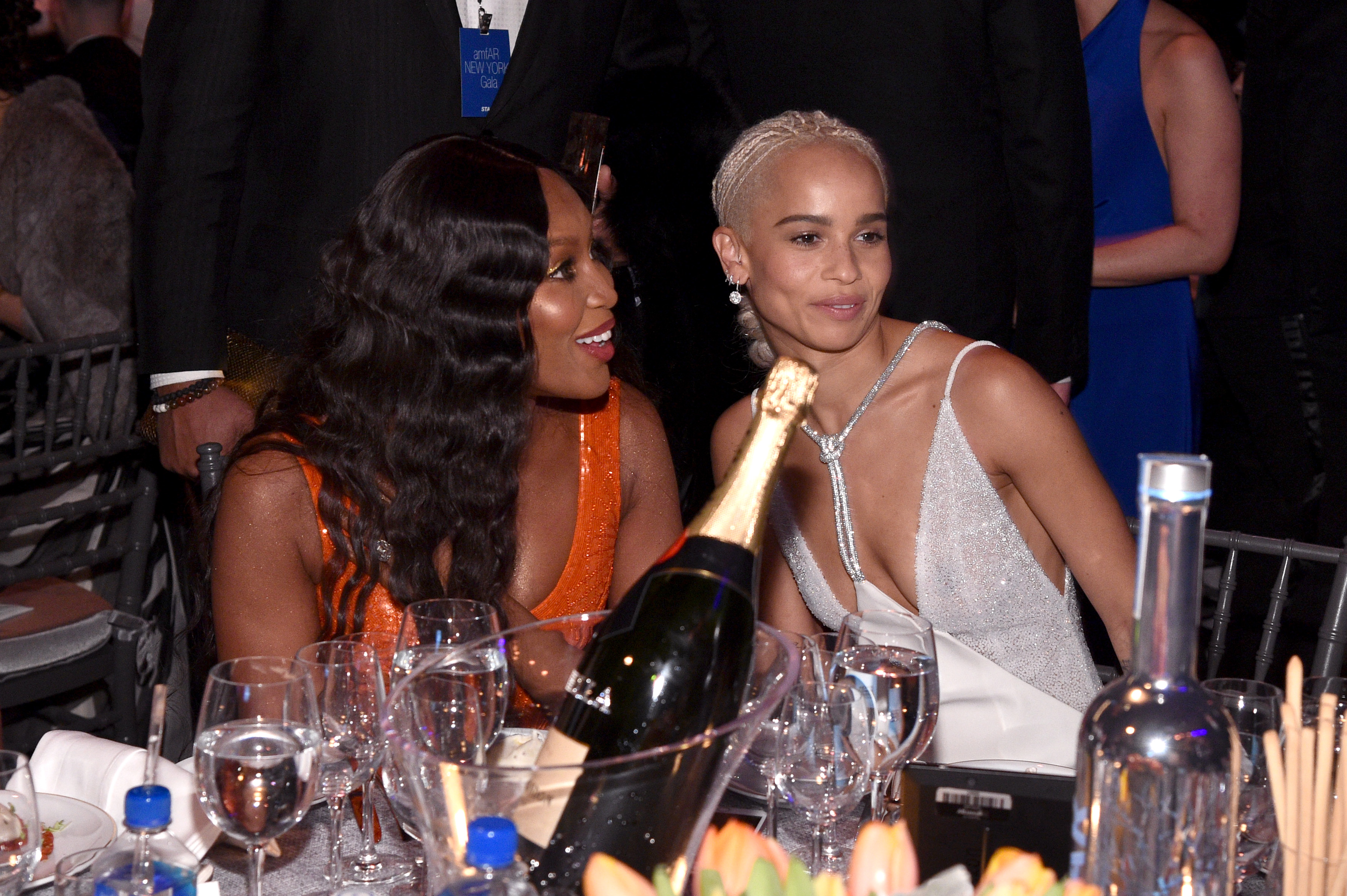 NEW YORK, NY - FEBRUARY 08:  Naomi Campbell and Zoe Kravitz attend as Moet & Chandon Toasts to the amfAR New York Gala At Cipriani Wall Street at Cipriani Wall Street on February 8, 2017 in New York City.  (Photo by Bryan Bedder/Getty Images for Moet & Chandon)