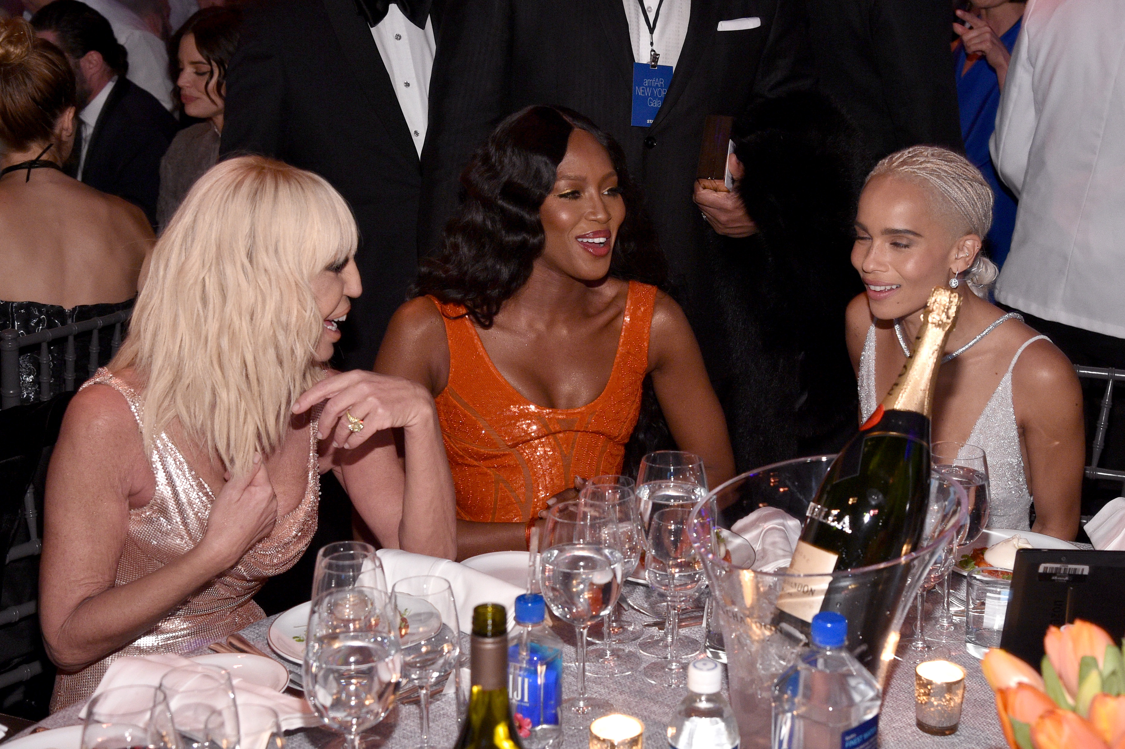 NEW YORK, NY - FEBRUARY 08: Donatella Versace, Naomi Campbell and Zoe Kravitz attend as Moet & Chandon Toasts to the amfAR New York Gala At Cipriani Wall Street at Cipriani Wall Street on February 8, 2017 in New York City.  (Photo by Bryan Bedder/Getty Images for Moet & Chandon)