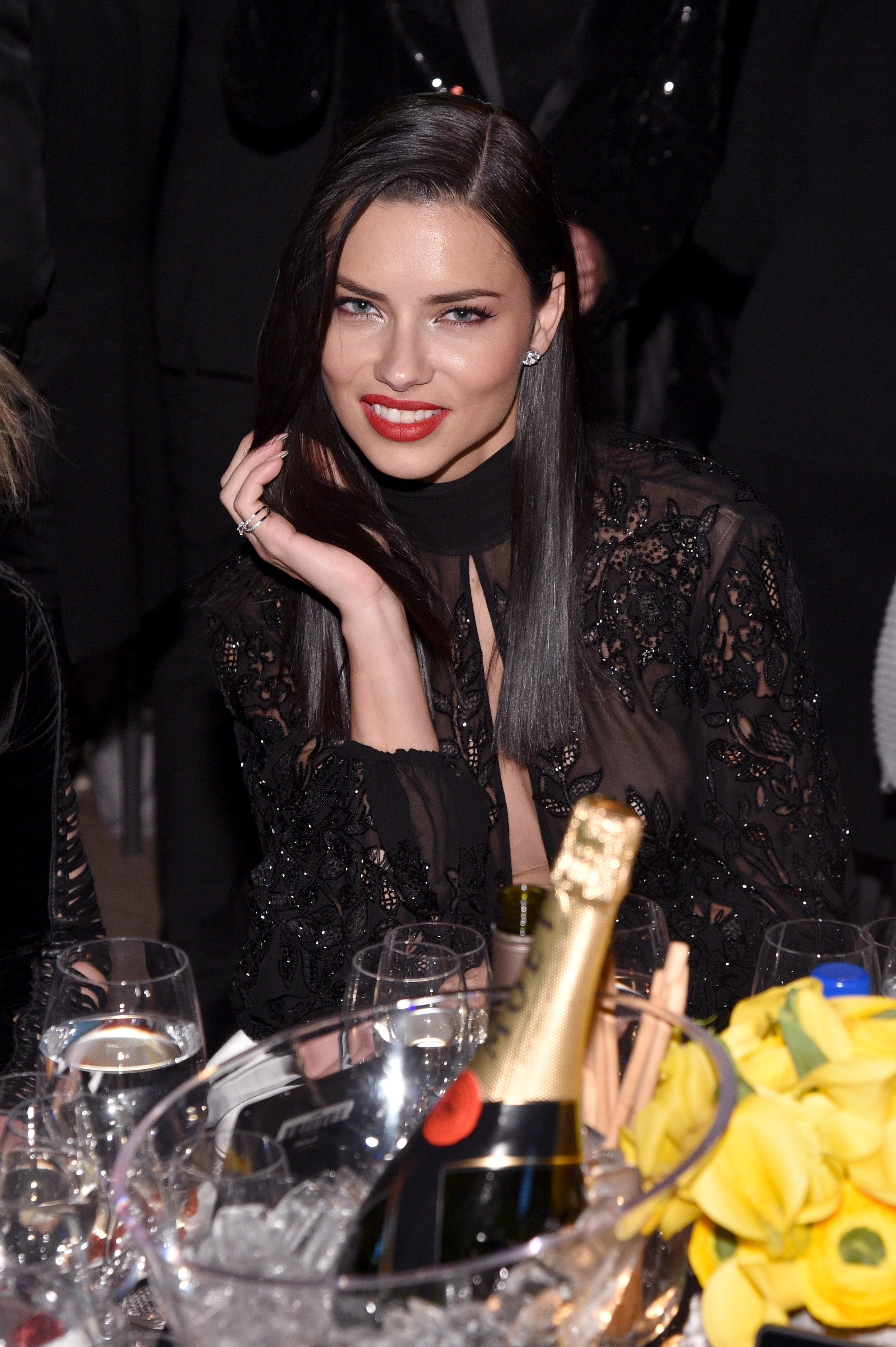 NEW YORK, NY - FEBRUARY 08: Model Adriana Lima attends as Moet & Chandon Toasts to the amfAR New York Gala At Cipriani Wall Street at Cipriani Wall Street on February 8, 2017 in New York City.  (Photo by Bryan Bedder/Getty Images for Moet & Chandon)