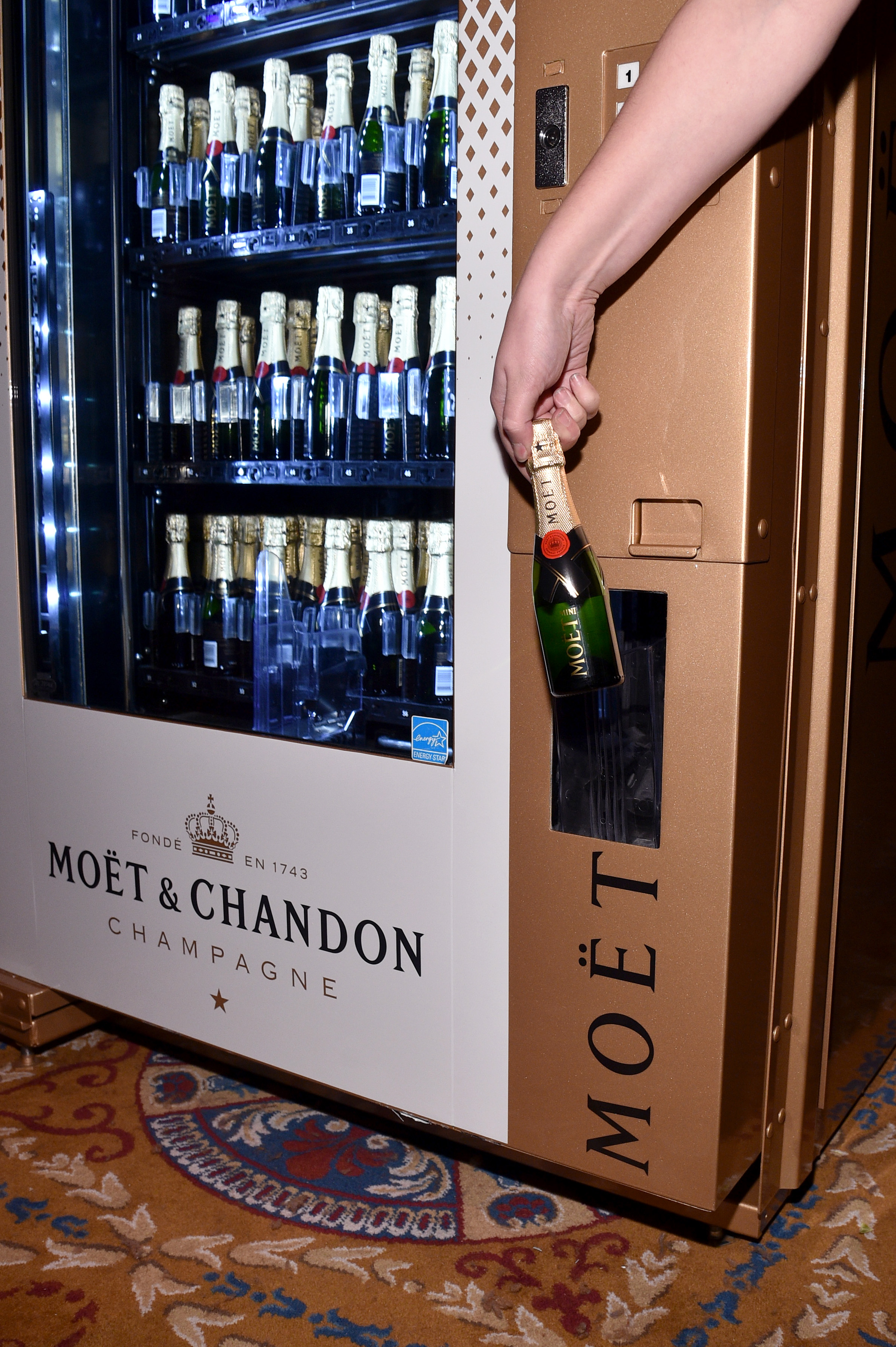 NEW YORK, NY - FEBRUARY 08:  A view of the Moet & Chandon bottles on display as Moet & Chandon Toasts to the amfAR New York Gala At Cipriani Wall Street at Cipriani Wall Street on February 8, 2017 in New York City.  (Photo by Bryan Bedder/Getty Images for Moet & Chandon)