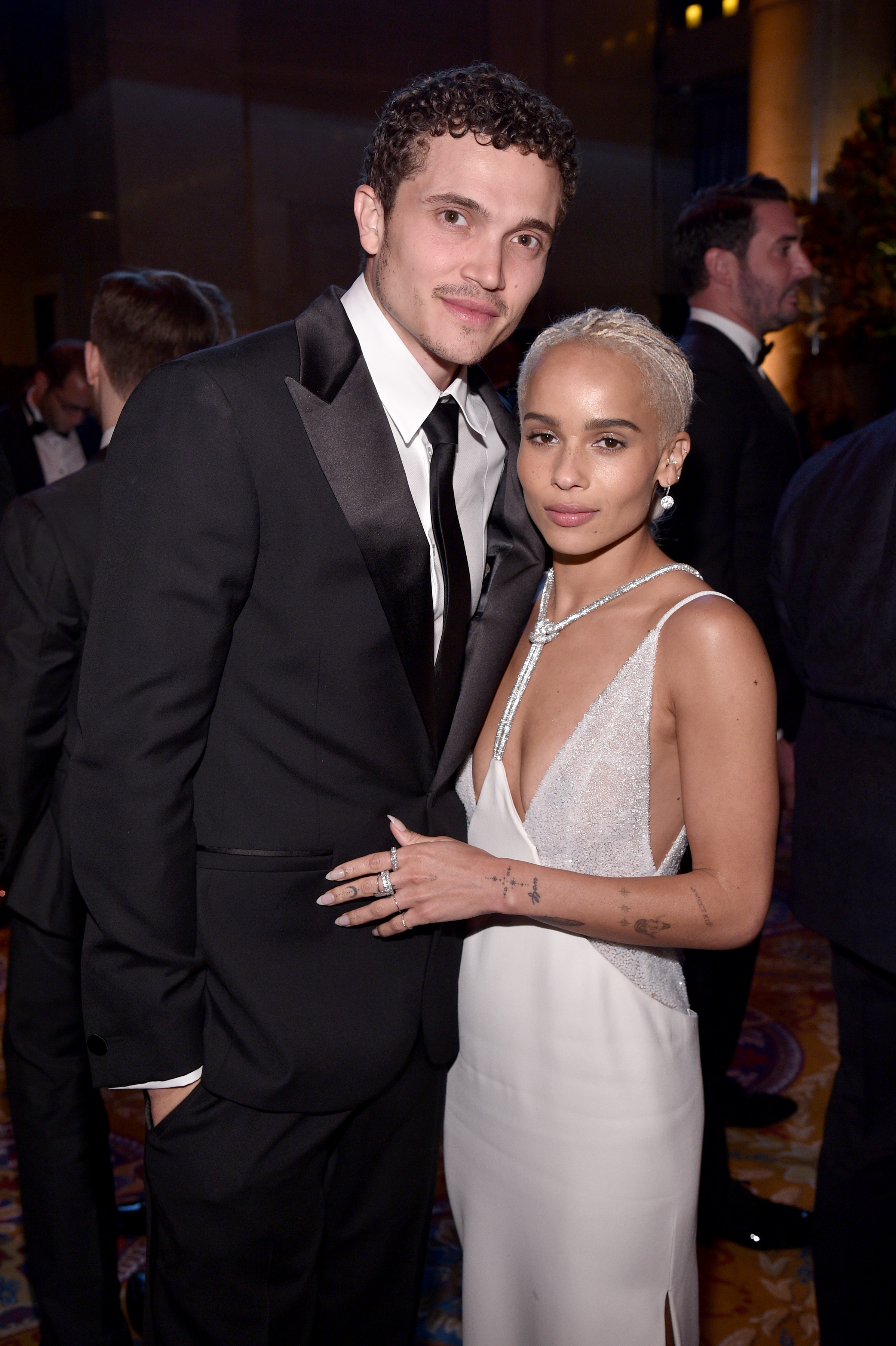 NEW YORK, NY - FEBRUARY 08:  Actor Karl Glusman and Model Zoe Kravitz attend as Moet & Chandon Toasts to the amfAR New York Gala At Cipriani Wall Street at Cipriani Wall Street on February 8, 2017 in New York City.  (Photo by Bryan Bedder/Getty Images for Moet & Chandon)