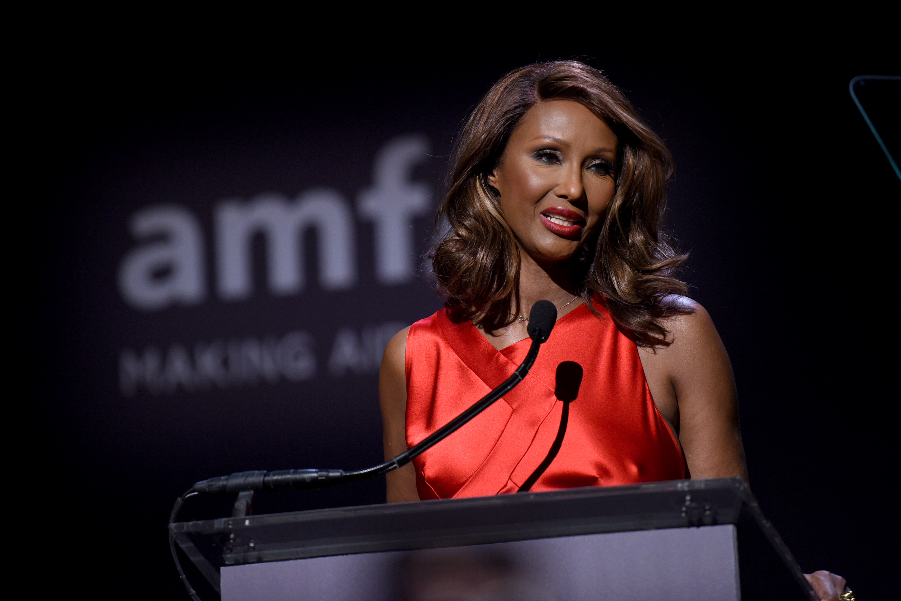 NEW YORK, NY - FEBRUARY 08: Model Iman speaks onstage as Moet & Chandon Toasts to the amfAR New York Gala At Cipriani Wall Street at Cipriani Wall Street on February 8, 2017 in New York City.  (Photo by Bryan Bedder/Getty Images for Moet & Chandon)