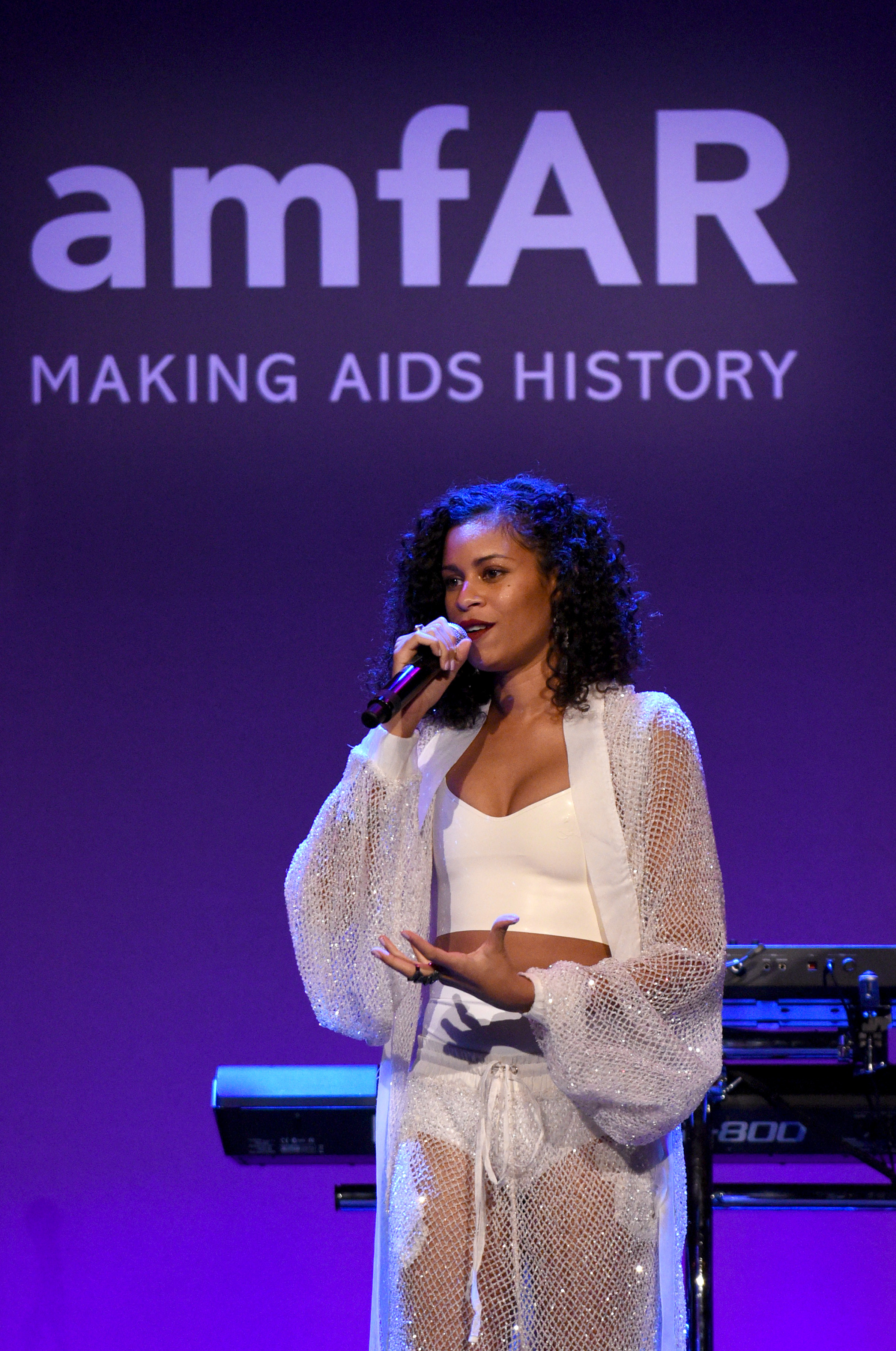 NEW YORK, NY - FEBRUARY 08:  Musician AlunaGeorge performs onstage as Moet & Chandon Toasts to the amfAR New York Gala At Cipriani Wall Street at Cipriani Wall Street on February 8, 2017 in New York City.  (Photo by Bryan Bedder/Getty Images for Moet & Chandon)