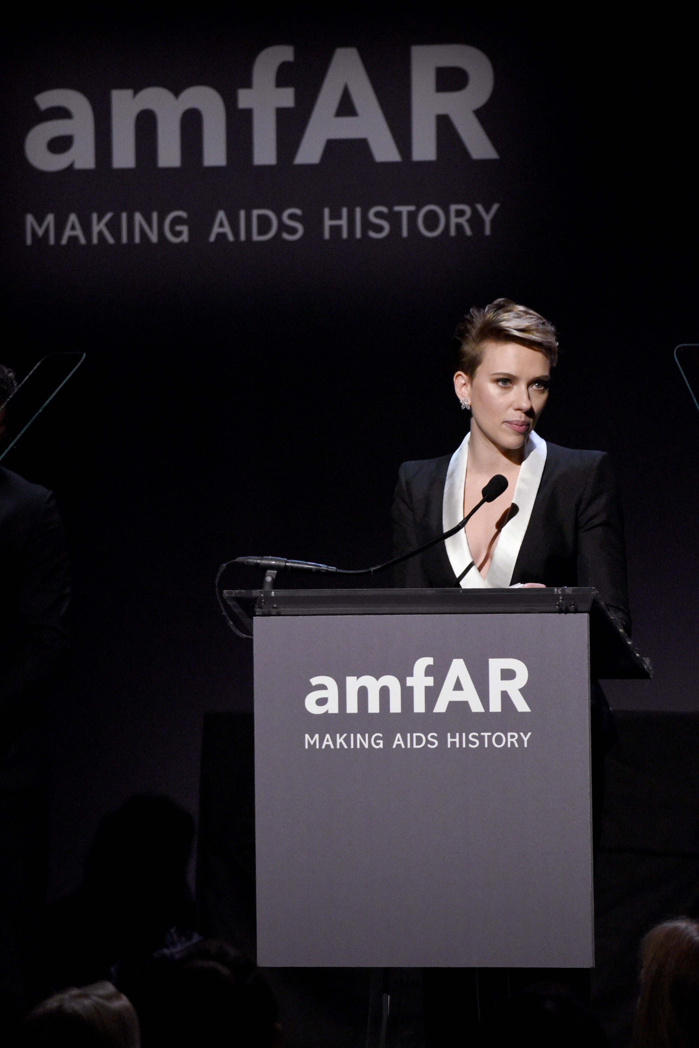 NEW YORK, NY - FEBRUARY 08:  Actress Scarlett Johansson speaks onstage as Moet & Chandon Toasts to the amfAR New York Gala At Cipriani Wall Street at Cipriani Wall Street on February 8, 2017 in New York City.  (Photo by Bryan Bedder/Getty Images for Moet & Chandon)