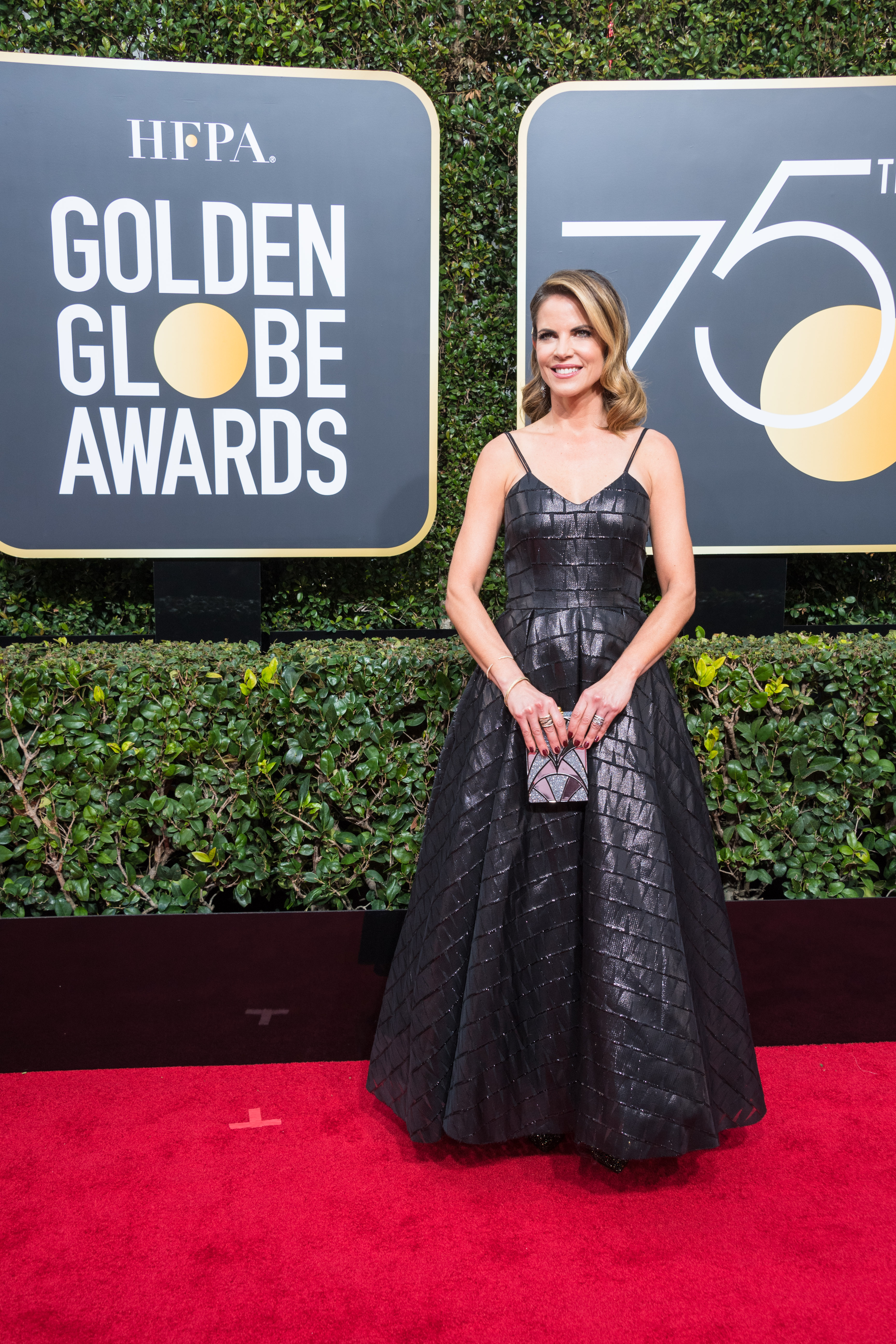 Natalie Morales arrives at the 75th Annual Golden Globes Awards at the Beverly Hilton in Beverly Hills, CA on Sunday, January 7, 2018.