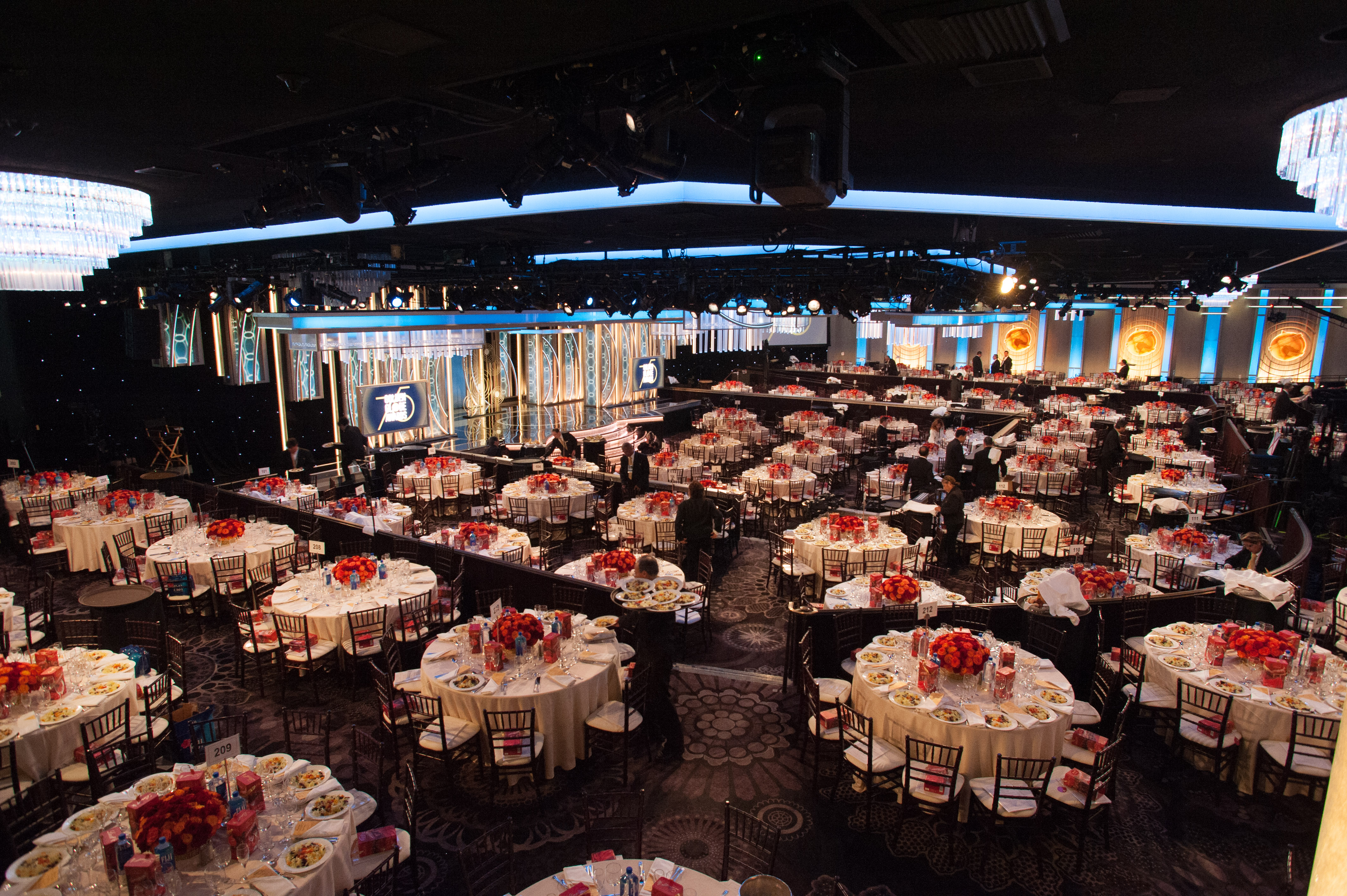 The Ballroom is set and ready for the 75th Golden Globes.