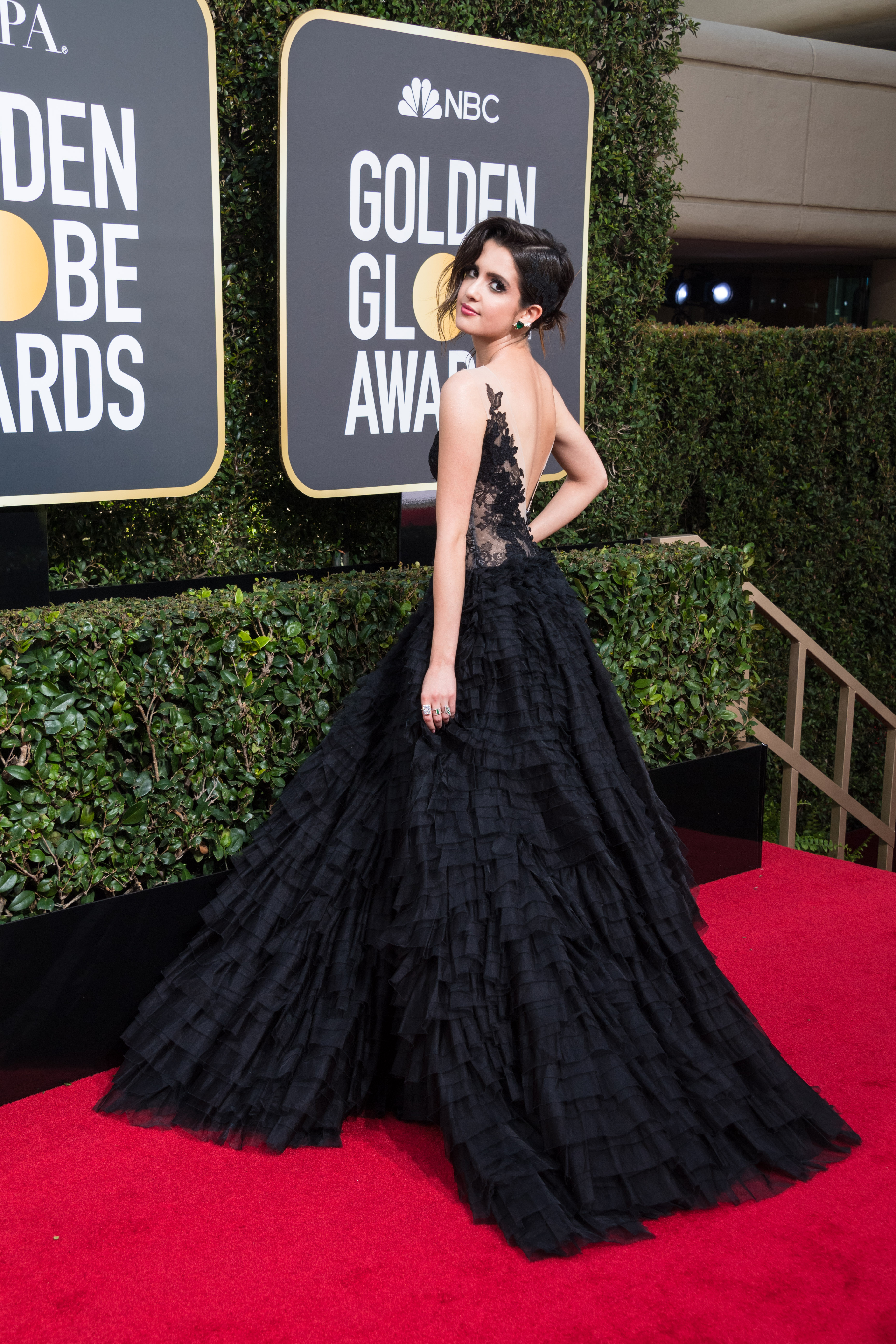 Laura Marano arrives at the 75th Annual Golden Globe Awards at the Beverly Hilton in Beverly Hills, CA on Sunday, January 7, 2018.