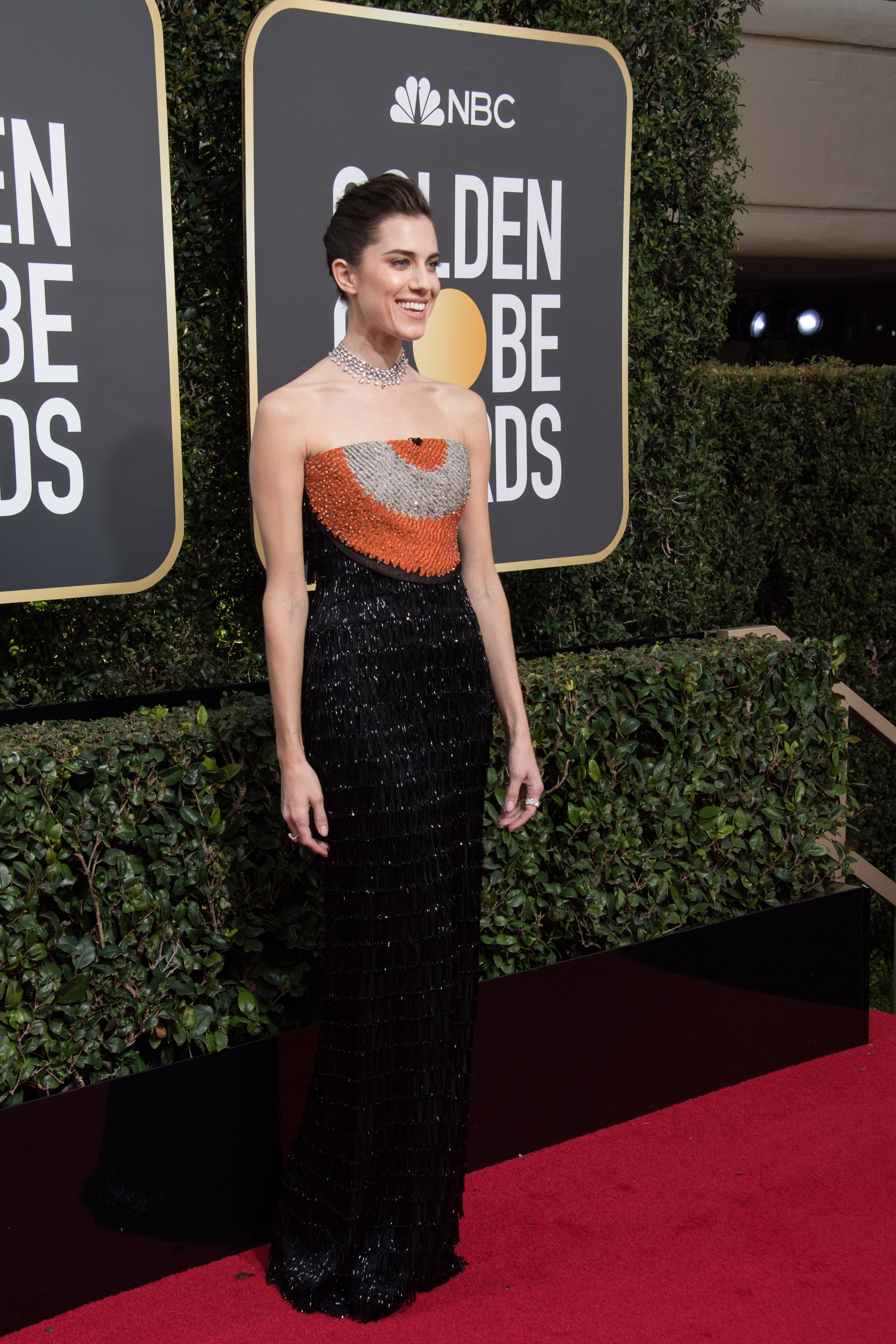 Allison Williams arrives at the 75th Annual Golden Globes Awards at the Beverly Hilton in Beverly Hills, CA on Sunday, January 7, 2018.