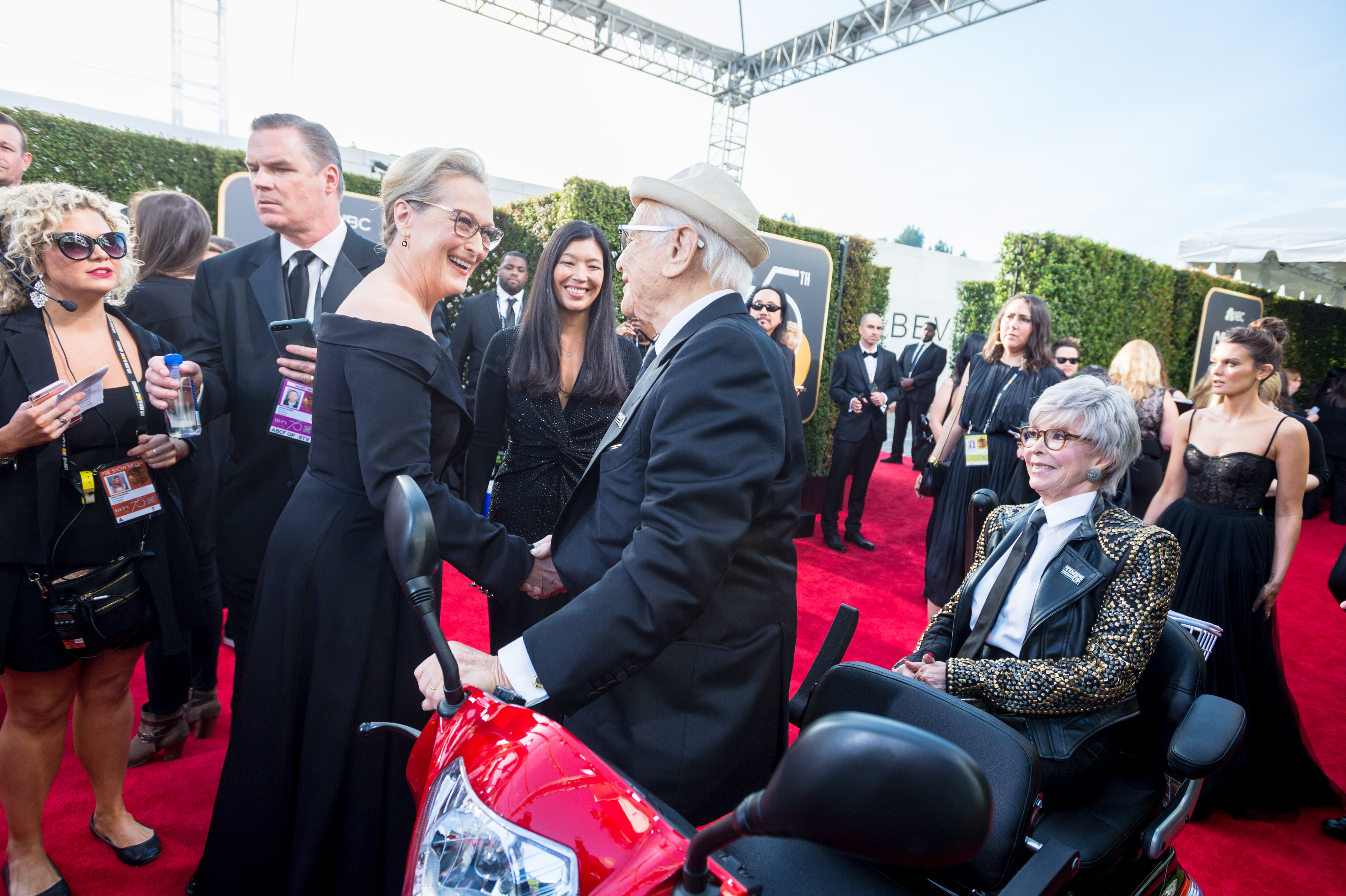 "Nominated for BEST PERFORMANCE BY AN ACTRESS IN A MOTION PICTURE – DRAMA for her role in ""The Post,"" actress Meryl Streep greets Norman Lear and Rita Moreno on the red carpet of the 75th Annual Golden Globe Awards at the Beverly Hilton in Beverly Hills, CA on Sunday, January 7, 2018."