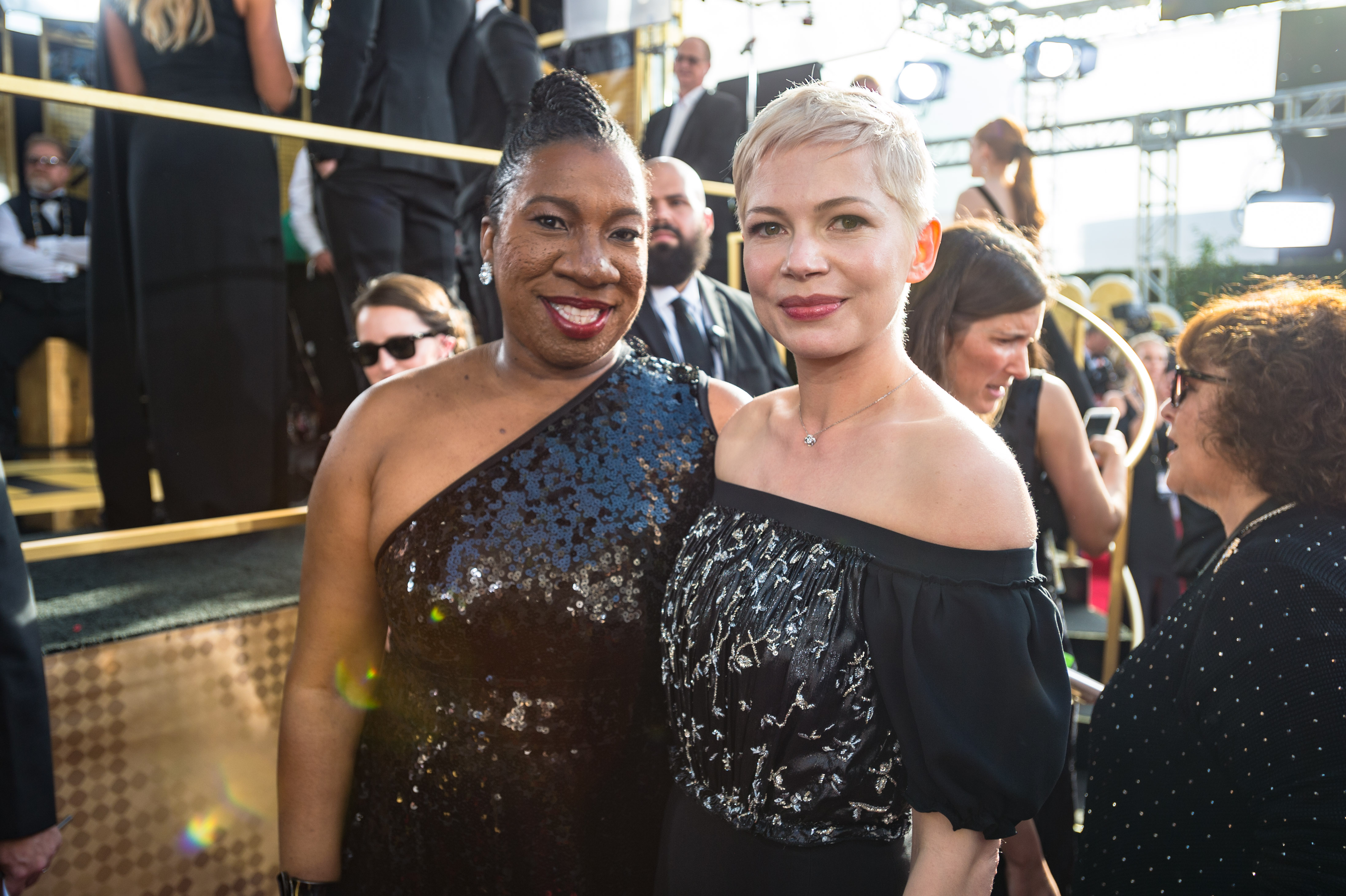 "ominated for BEST PERFORMANCE BY AN ACTRESS IN A MOTION PICTURE – DRAMA for her role in ""All the Money in the World,"" actress Michelle Williams poses with Tarana Burke at the 75th Annual Golden Globe Awards at the Beverly Hilton in Beverly Hills, CA on Sunday, January 7, 2018."
