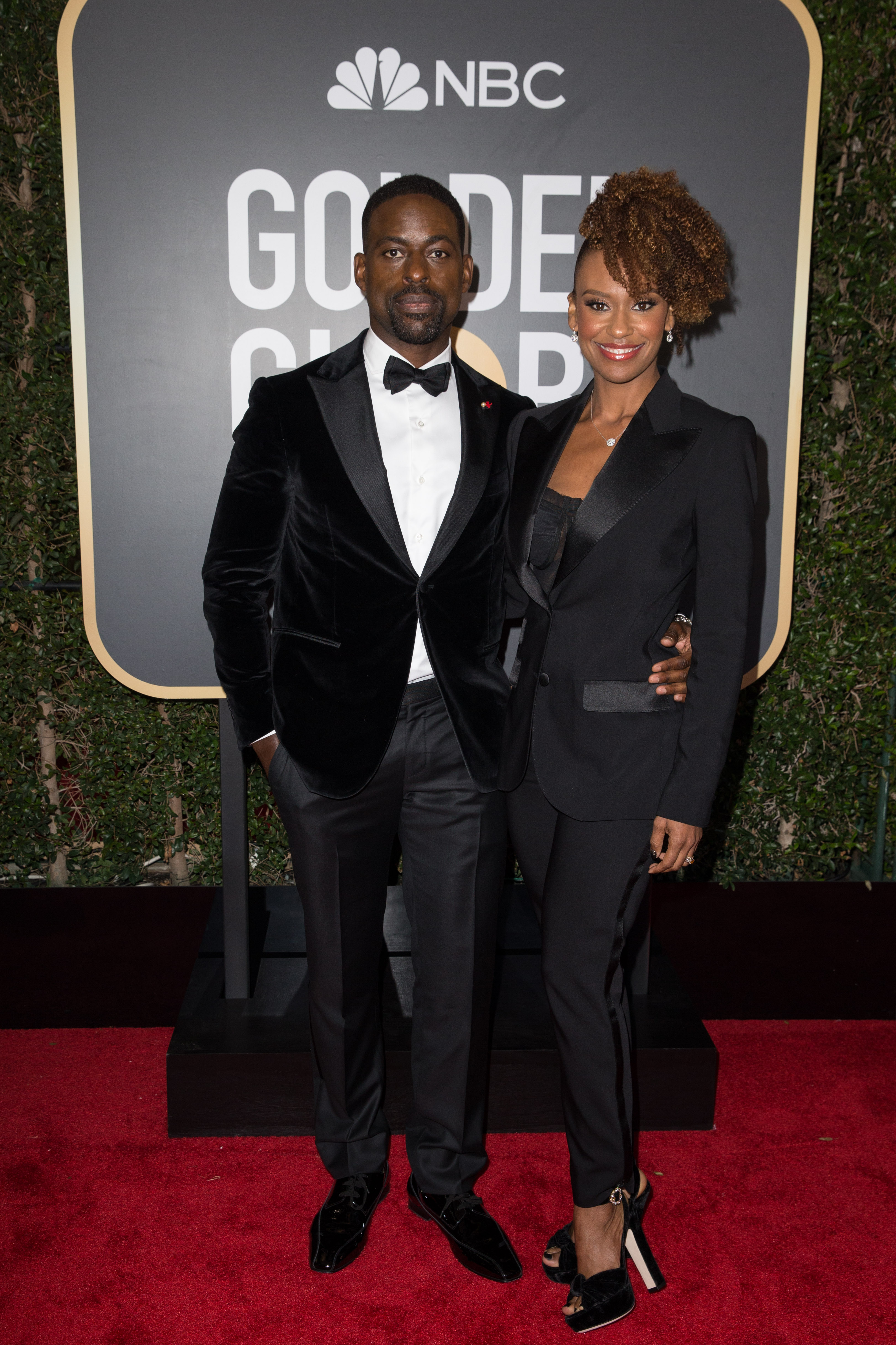 "Sterling K. Brown, nominated for BEST PERFORMANCE BY AN ACTOR IN A TELEVISION SERIES – DRAMA for his role in ""This Is Us,"" and Ryan Michelle Bathe arrive at the 75th Annual Golden Globe Awards at the Beverly Hilton in Beverly Hills, CA on Sunday, January 7, 2018."