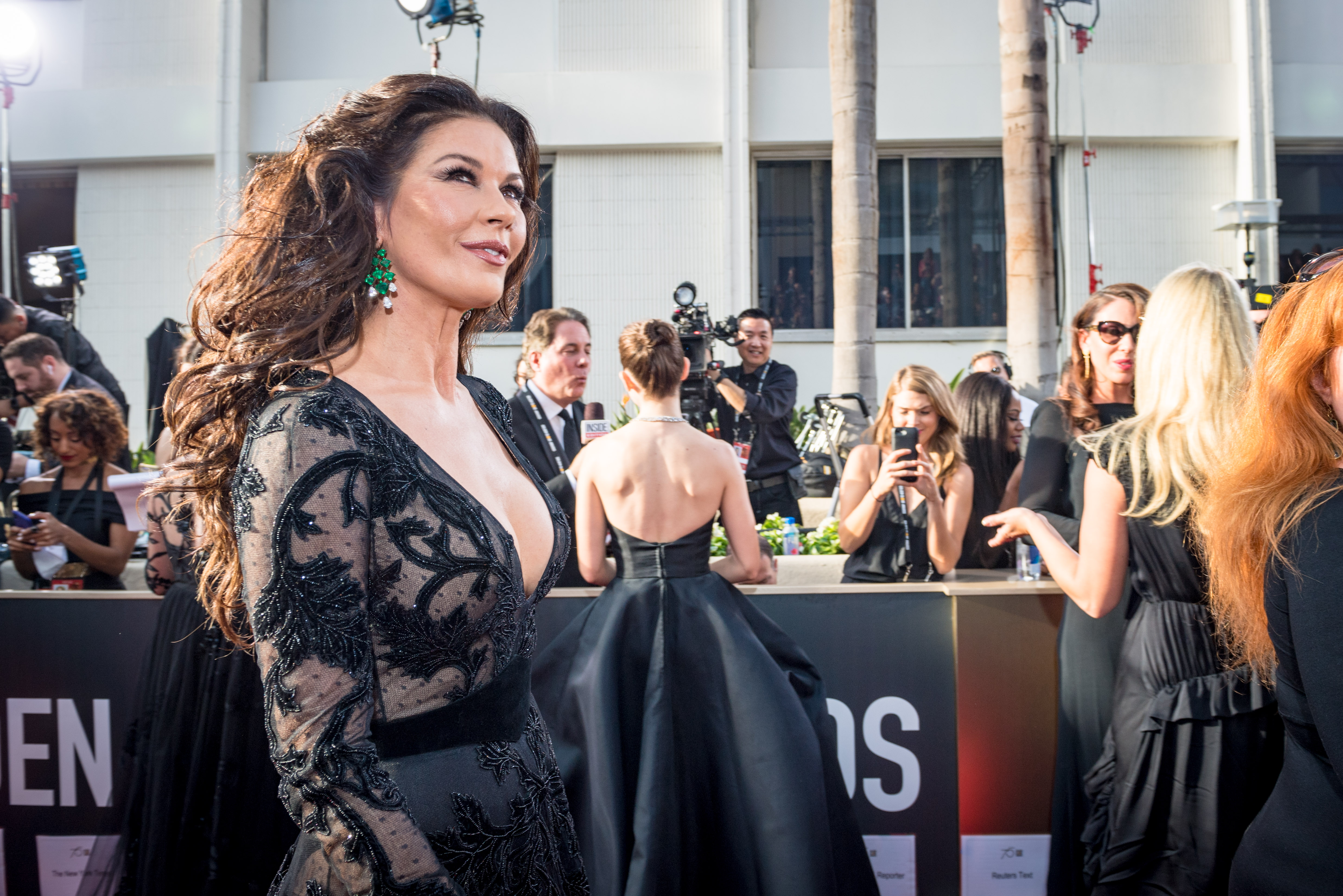 Cathrine Zeta Jones arrives at the 75th Annual Golden Globes Awards at the Beverly Hilton in Beverly Hills, CA on Sunday, January 7, 2018.