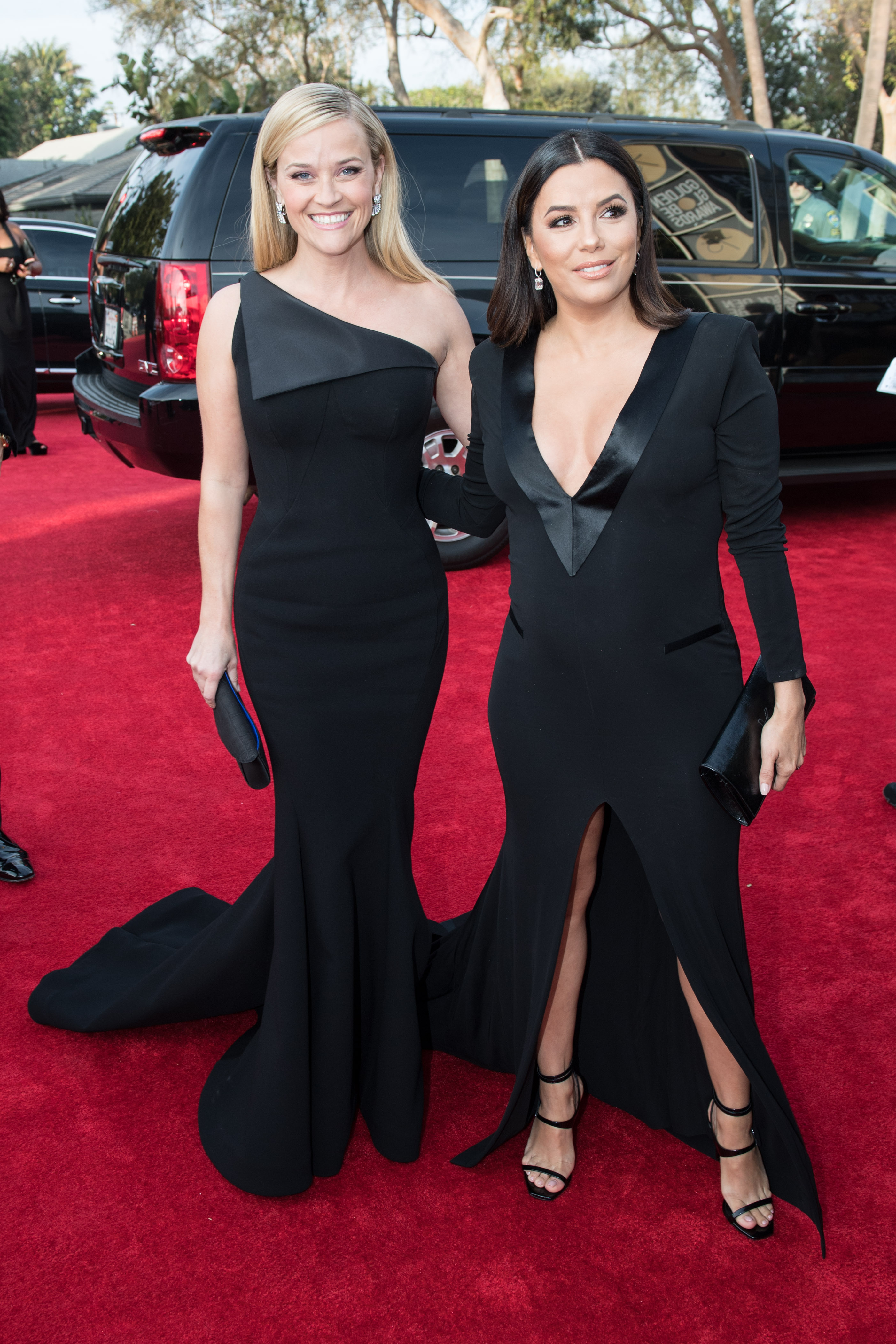 "Nominated for BEST PERFORMANCE BY AN ACTRESS IN A LIMITED SERIES OR A MOTION PICTURE MADE FOR TELEVISION for her role in ""Big Little Lies,"" actress Reese Witherspoon and Eva Longoria arrive at the 75th Annual Golden Globe Awards at the Beverly Hilton in Beverly Hills, CA on Sunday, January 7, 2018."