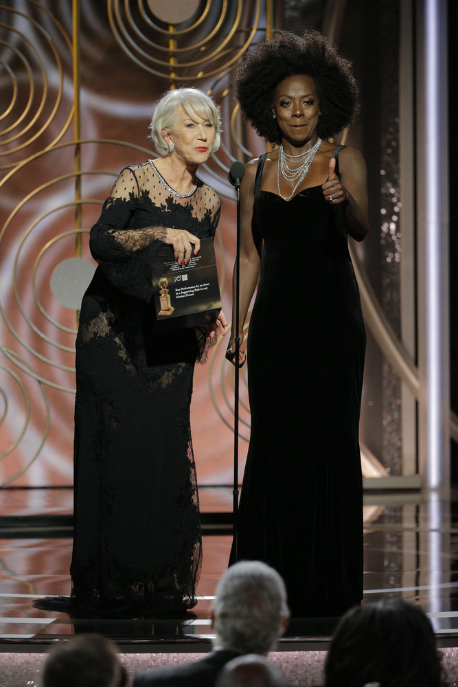 75th ANNUAL GOLDEN GLOBE AWARDS -- Pictured: (l-r) Helen Mirren, Viola Davis, Presenters at the 75th Annual Golden Globe Awards held at the Beverly Hilton Hotel on January 7, 2018 -- (Photo by: Paul Drinkwater/NBC)