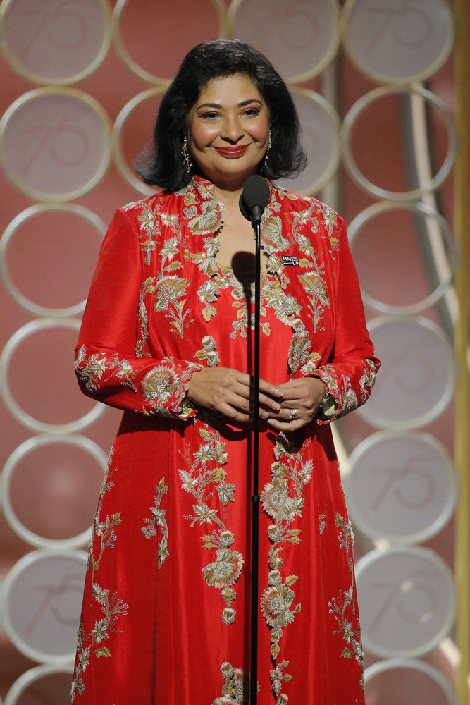 75th ANNUAL GOLDEN GLOBE AWARDS -- Pictured: Meher Tatna, HFPA President at the 75th Annual Golden Globe Awards held at the Beverly Hilton Hotel on January 7, 2018 -- (Photo by: Paul Drinkwater/NBC)