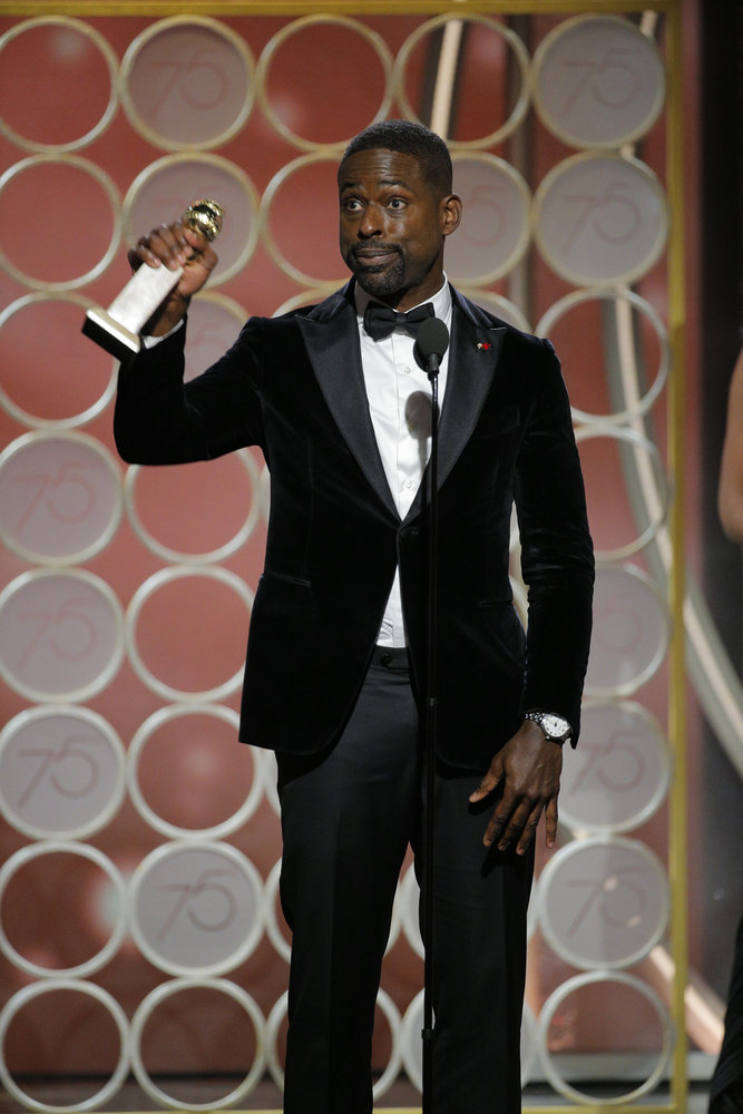 "75th ANNUAL GOLDEN GLOBE AWARDS -- Pictured: Sterling K. Brown, ""This Is Us"", winner Best Performance by an Actor in a Television Series – Drama at the 75th Annual Golden Globe Awards held at the Beverly Hilton Hotel on January 7, 2018 -- (Photo by: Paul Drinkwater/NBC)"