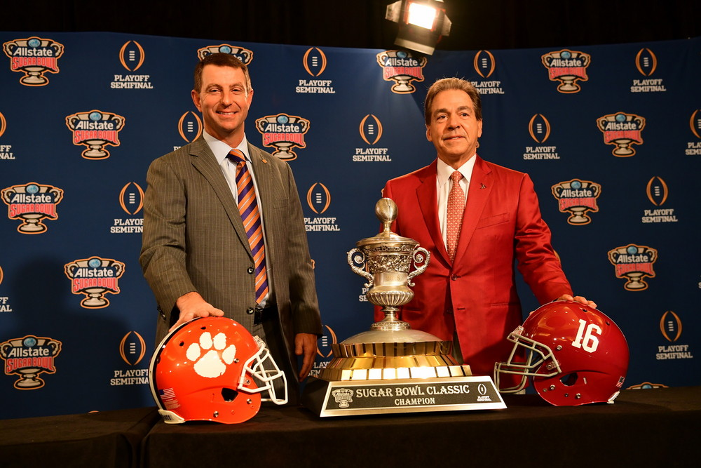 New Orleans, LA - December 31, 2017 - Marriott: Coach Dabo Swinney of the Clemson University Tigers and Coach Nick Saban of the University of Alabama Crimson Tide during the 2017 Sugar Bowl Coaches press conference (Photo by Phil Ellsworth / ESPN Images)