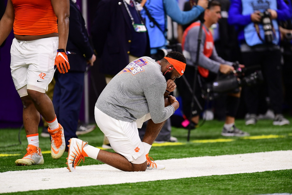 New Orleans, LA - January 1, 2018 - Mercedes-Benz Superdome: The Clemson University Tigers during the 2017 Sugar Bowl game (Photo by Phil Ellsworth / ESPN Images)