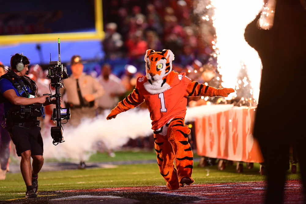 New Orleans, LA - January 1, 2018 - Mercedes-Benz Superdome: Mascot of the Clemson University Tigers during the 2017 Sugar Bowl game (Photo by Phil Ellsworth / ESPN Images)