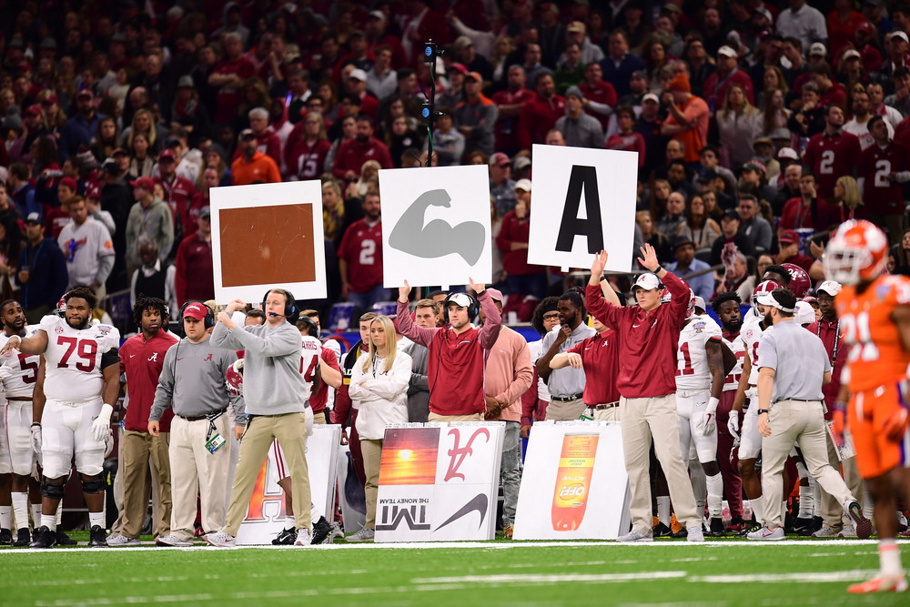 New Orleans, LA - January 1, 2018 - Mercedes-Benz Superdome: Sideline of the University of Alabama Crimson Tide during the 2017 Sugar Bowl game (Photo by Phil Ellsworth / ESPN Images)