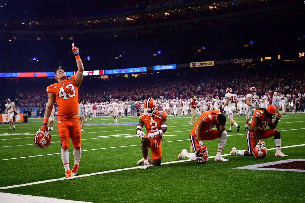 New Orleans, LA - January 1, 2018 - Mercedes-Benz Superdome: Chad Smith (43) of the Clemson University Tigers during the 2017 Sugar Bowl game (Photo by Phil Ellsworth / ESPN Images)