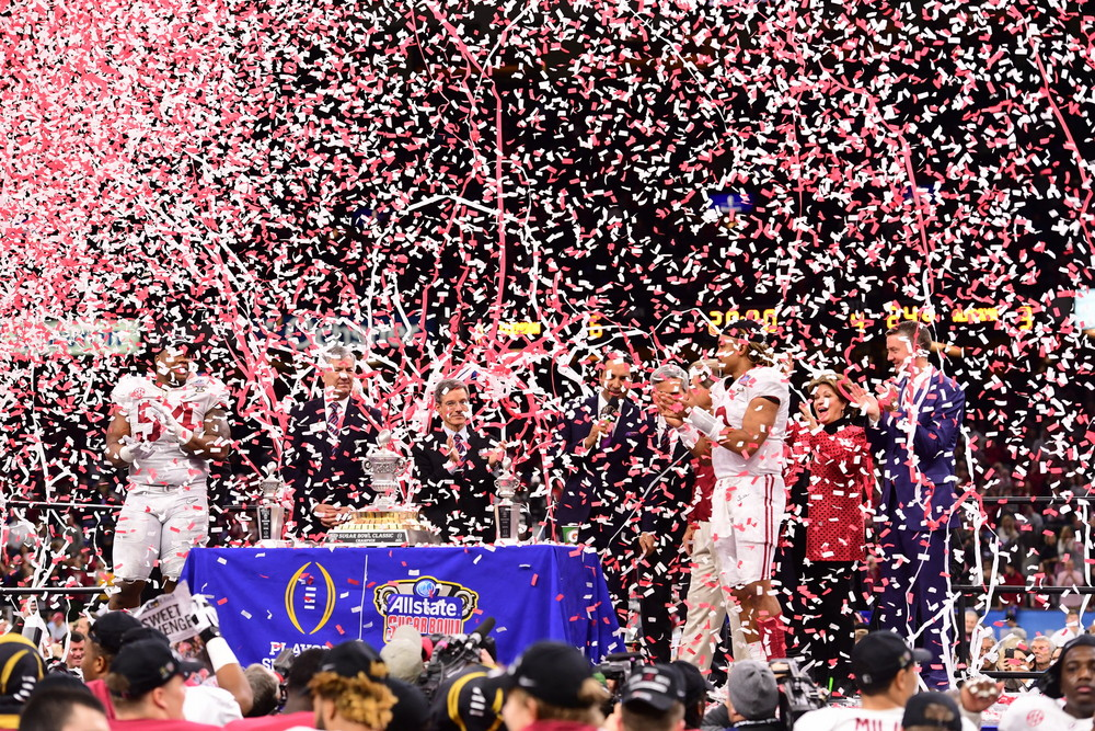 New Orleans, LA - January 1, 2018 - Mercedes-Benz Superdome: The University of Alabama Crimson Tide during the 2017 Sugar Bowl game (Photo by Phil Ellsworth / ESPN Images)