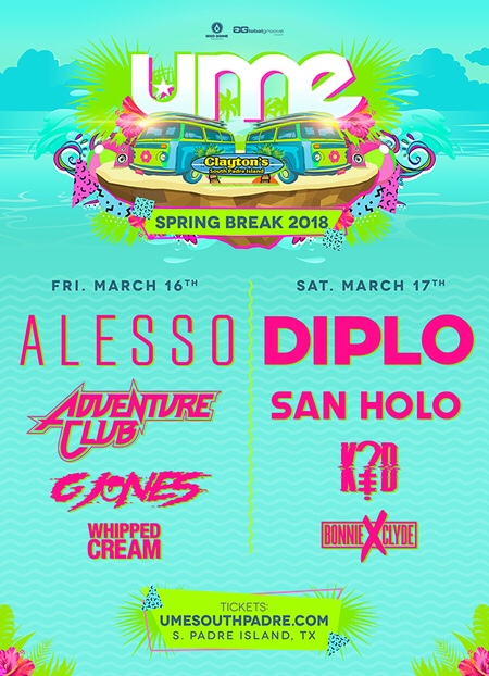 Disco Donnie Presents & Global Groove's Ultimate Music Experience Featuring Headliners Alesso & Diplo March 16 & 17 South Padre, Texas
